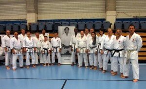 (Click to Enlarge) Sensei Shahinaz Pelter& Patrick Pelterwith the JKA England Group in the JKA Europe Gasshuku (camp) in Brussels, November 2015