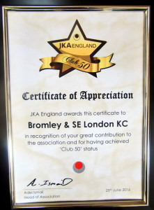 (Click to Enlarge) FANTASTIC NEWS!!! A New Prestigious JKA ENGLAND AWAR,in 2016, for our BROMLEY & SOUTH EAST LONDON JKA KARATE CLUB!
