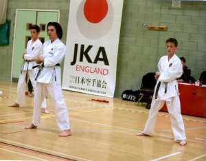 (Click to Enlarge) Bromley & South East London JKA Karate Club TEAM KATA, performing Bassa Dai, at the National Championships! EXCELLENT PERFORMANCE!!well Done Patrick, Edward & William!!!