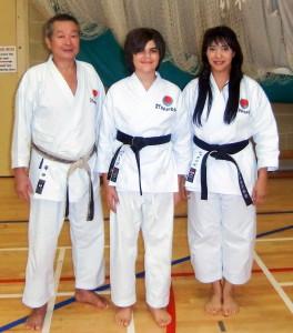 Sensei Shahinaz Pelter & Patrick Pelter with Sensei Sawada (7th Dan), JKAE Autumn International Course, 2013