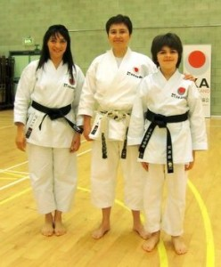 Sensei Shahinaz & Patrick with Sensei Hirayama (6th Dan), JKAE Spring International Course, 2012