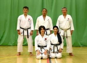 (Click to Enlarge) Sensei Shahinaz Pelter, Patrick Pelter with Sensei Imura (8th Dan), Sensei Sawada (7th Dan) and Sensei Ohta (7th Dan), September 2015