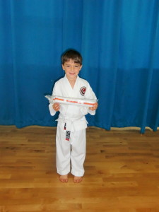 WeELL DONE ALFIE! Your Basics & Kata are Looking Good! Well deserved Orange & White Stripes!!