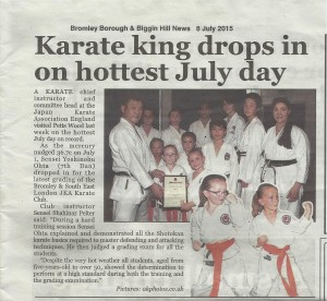 ( Click to Enlarge) Bromley & South East London JKA Karate Club in the Newspapers!! Sensei Ohta with with Sensei Shahinaz, Ptrick a Small group of the Students of the Club, Wednesday 1st July 2015