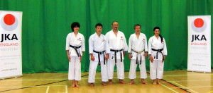 Sensei Shahinaz Pelter and Patrick Pelter with Sensei Ohta, Sensei Shiina & Sensei Sawada,JKAE Autumn International Course,September  2014