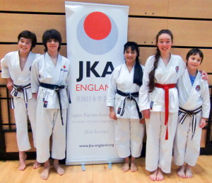 (Click to Enlarge)Sensei Shahinaz , Patrick, Charlotte, Edward and William, at the JKA England Course at the Olympic Park February 2015.