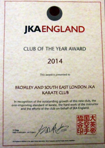 (Click to Enlarge) Bromley & South East London JKA Karate Club Is A Winner! 2014-2015 (For more details please go to the Menu & click on Newsflash page)