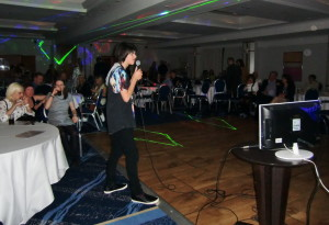 (Click to Enlarge) After long hours of training, Patrick is having fun at the Karaoke Night at the JKA England International Course.,May 2015.