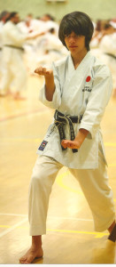 (Click to Enlarge) Patrick Pelter practicing in depth Empi during a superbsession with sensei Omura (7th Dan) at the JKA England Spring International Course, May 2015.