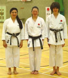 Sensei Shahinaz Pelter & Patrick Pelter with Sensei Mai Shiina (3rd Dan), JKA England Spring International Course, May 2015