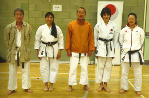 (Click to Enlarge) Sensei Shahinaz Pelter & Patrick Pelter with Sensei Imamura (7th Dan), Sensei Omura (7th Dan) & Sensei Mai Shiina (3rd Dan) at the JKA England Spring International Course, May 2015. A Brilliant Course!