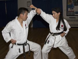 (Click to Enlarge) Senei Ohta & Sensei Shahinaz Pelter demonstrating defending & attacking techniques, Wednesday 1st July 2015