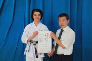 (Click to Enlarge) PATRICK PELTER is honoured to be presented, with his prestigious NI DAN CERTIFICATE, which has just arrived from Japan, by SENSEI OHTA (7th Dan) JKA England Chief Instructor, Wednesday 20th July 2016. MANY CONGRATULATIONS PATRICK