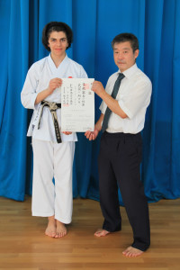(Click to Enlarge) Patrick Pelter is honoured to be presented, with his prestigious Ni Dan Certificate, which has just arrived from Japan, by Sensei Ohta(7th Dan) JKA Englnd Chief Instructor, Wednesday 20th July 2016.