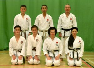 JKA ENGLAND AUTUMN INTERNATIONAL COURSE, SEPTEMBER 2016: Sensei Ohta( 7th Dann), Sensei Osaka( 8th Dan), Sensei Imamura (7th Dan), Sensei Shahinaz, Patrick, William & Edward.
