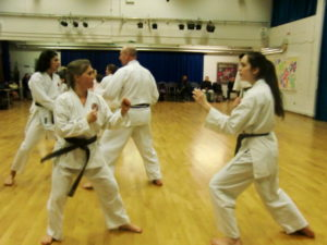 (Click to Enlarge) Vicky, Marta, Mark & Parick during one of Sensei Adel Great Kumite exercise .