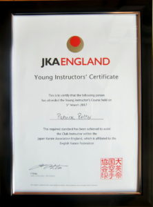 (Click to Enlarge) Bromley & South East London JKA Karate Club, Patrick Pelter JKAE Junior Instructor's Certificate.
