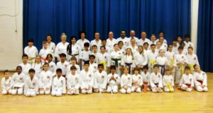 (Click to Enlarge) Sensei Shahinaz & junior instructor Patrick Pelter with Examiner Sensei Dobson & some members of Bromley & South East London JKa Karate Club, 29th March 2017