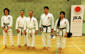 Sensei Shahinaz Pelter, Junior Instructor Patrick Pelter with Sensei Ogura (7th Dan), Sensei Hashiguchi (7th Dan), and Sensei Chubachi,(4th Dan), JKA ENGLAND SpringInternational Course, 28th April-1st May 2017)