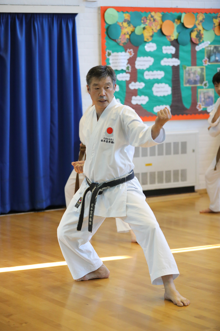 (Click to Enlarge)  Our JKA ENGLAND Great Chief Instructor Ohta Sensei in our dojo at Petts Wood, July 2017.
