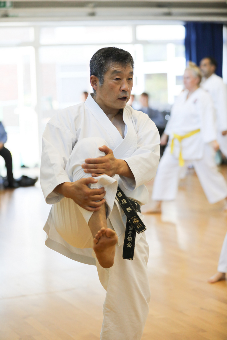 (Click to Enlarge) Sensei Ohta  during the training session just before conducting our club grading at our Dojo in Petts Wood, July 2017.