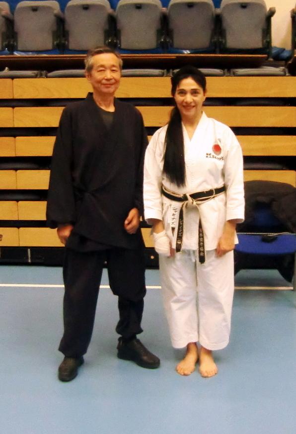 Click to Enlarge) Sensei Shahinaz Pelter with JKAE friend and a great Instructor Sensei Kuzihiro Sawada (7th Dan), JKA Belgium. JKA Europe Gasshuku, November 2017