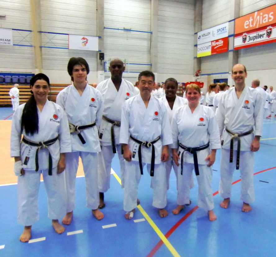 (Click to Enlarge) Sensei Shahinaz Pelter & Junior JKAE Instructor Patrick Pelter with Sensei Ohta Sensei Roy & JKAE Group in JKA Europe Gasshuku in Brussels. JKA Europe Gasshuku,November 2017.