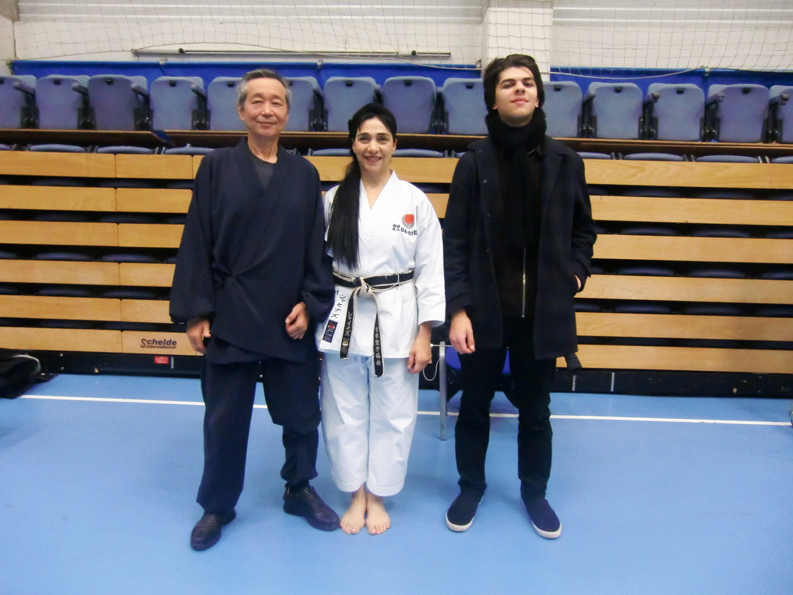 (Click to Enlarge) Sensei Shahinaz Pelter & Patrick Pelter with JKAE friend and a great Instructor Sensei Kuzihiro Sawada (7th Dan), JKA Belgium. November 2017