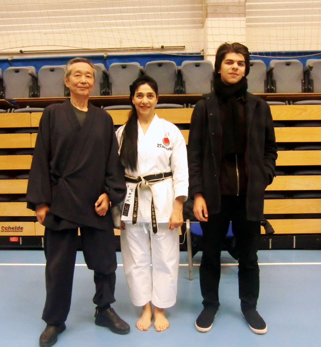 (Click to Enlarge) Sensei Shahinaz Pelter & Patrick Pelter with JKAE friend and a great Instructor Sensei Kuzihiro Sawada (7th Dan), JKA Belgium. JKA Europe Gasshuku, November 2017