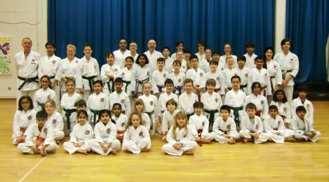 Sensei Shahinaz Pelter, Sensei Patrick Pelter & Grading Examiner Sensei Dobson  with members of Bromley & South East London JKA Karate Club, Many thanks to Sensi Dobson for a Great training Session & a Successful Grading! MANY CONGRATULATION & WELL DONE to all  those who graded!!!