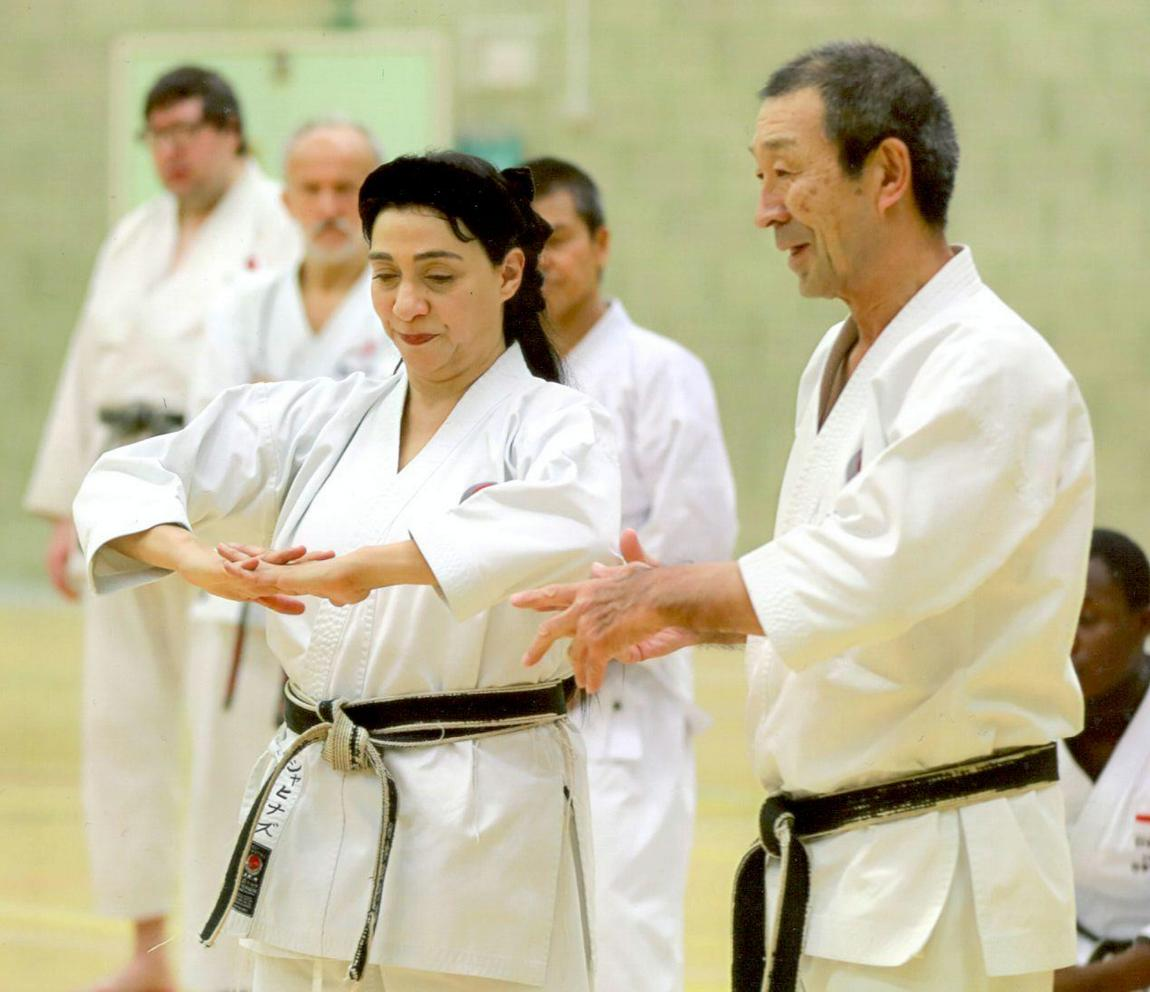 (Click to Enlarge) Sensei Shahinaz demonstrating the perfect posture for a perfect Mae geri with Sensei Osaka ( 8th Dan). JKAE International Course December 2017
