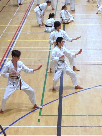 (Click to Enlarge) Patrick, Xin & William, practicing Empi during the JKAE Course, 6th January 2018, Guilford.